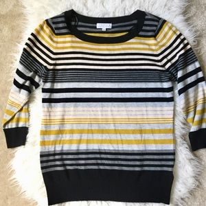 Yellow Black Withe Stripe Sweater Knit Top M